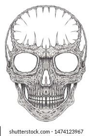 Art Surreal Skull Tattoo. Hand drawing on paper.