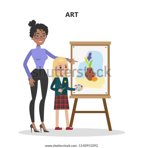 Art Teacher Student Learning Draw Paint Stock Illustration