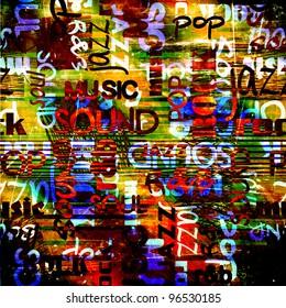 art urban graffiti raster bright and dark background with music name words