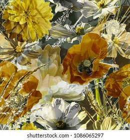 art vintage blurred monochrome and colordul old gold, olive, white and black  painting and graphic floral seamless pattern with peonies, poppies and leaves on dark background. Double Exposure effect