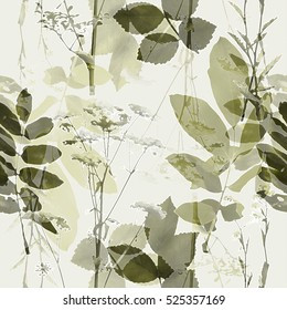 art vintage blurred monochrome gold green watercolor and graphic floral seamless pattern with grasses and leaves on white background. Double Exposure effect