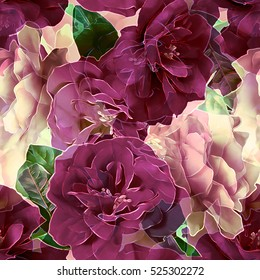 art vintage blurred monochrome violet purple watercolor and graphic floral seamless pattern with roses on  background. Double Exposure effect