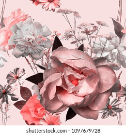 art vintage blurred monochrome watercolor and graphic floral seamless pattern with big pink peony, grasses and leaves on light background