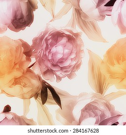 art vintage blurred watercolor floral seamless pattern with gold and pink red peonies isolated on white background