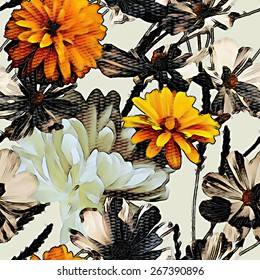art vintage colorful graphic and watercolor floral seamless pattern with white peonies and gold orange asters isolated on white background