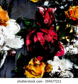 art vintage colorful watercolor and graphic floral seamless pattern with white, black, red and yellow gold roses and peonies  on dark grey background