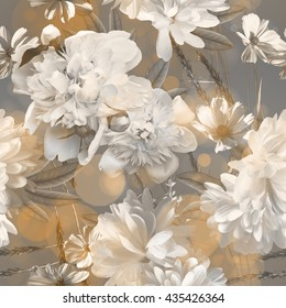 art vintage monochrome blurred floral seamless pattern with white peonies on light grey and gold background. Bokeh effect