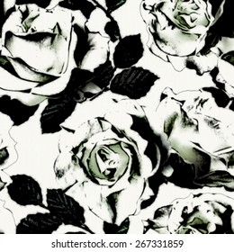 art vintage monochrome graphic floral seamless pattern with white roses on white background in black and white colors