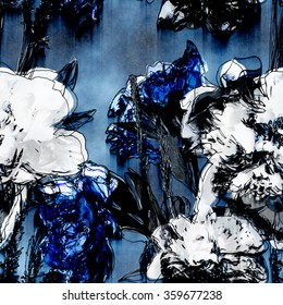 art vintage monochrome watercolor and graphic floral seamless pattern with white, black and blue roses, asters and peonies on blue background