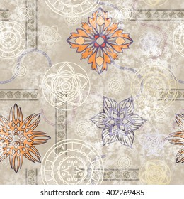 art vintage stylized geometric flowers seamless pattern, colored background with white and beige colors