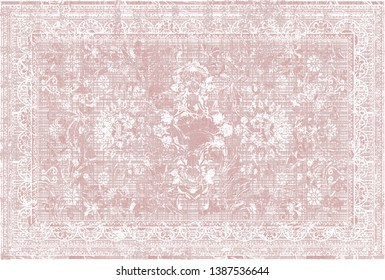 art vintage, traditional classical carpet, rug pattern design / distressed texture background /İkat, tie dye texture modern floor - Illustration.