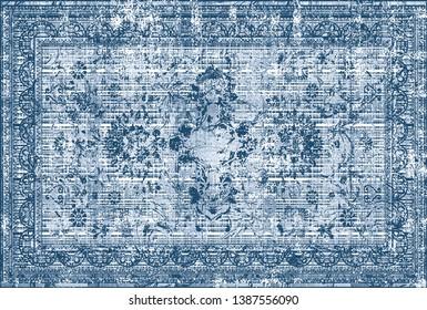 art vintage, traditional classical carpet, rug pattern design / distressed texture background /İkat, tie dye texture modern floor - Illustration.