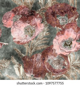 art vintage watercolor colorful floral seamless pattern with dark red poppies, leaves and grasses on  background