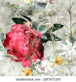 art vintage watercolor colorful floral seamless pattern with big red peony, leaves and grasses on light background
