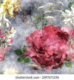 art vintage watercolor colorful floral seamless pattern with big red peony, leaves and grasses on dark background