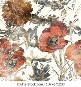 art vintage watercolor colorful floral seamless pattern with red poppies, white peonies, leaves and grasses on white background