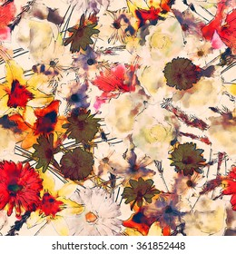 art vintage watercolor floral seamless pattern with white, gold yellow and pink red lilies, roses, asters and gerberas on white background