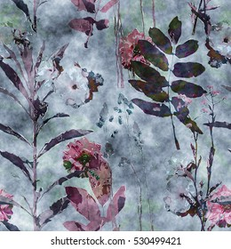 art vintage watercolor floral seamless pattern with monochrome purple and brown roses, peonies, asters, leaves and grasses on blue background