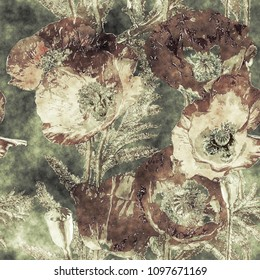 art vintage watercolor and graphic colorful floral seamless pattern with dark brown poppies, leaves and grasses on green background