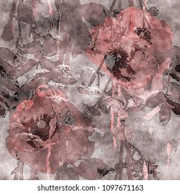 art vintage watercolor monochrome floral seamless pattern with red brown poppies, leaves and grasses on dark background