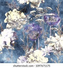 art vintage watercolor monochrome floral seamless pattern with violet and white poppies, peonies, roses, leaves and grasses on dark blue background
