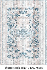 art vintage, white and blue colored traditional classical carpet, rug pattern design / distressed texture background /İkat motifs on striped  texture  floor /