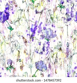 Art watercolor abstract floral pattern. Columbine inflorescences and wild flowers. Design of textile, fabric, covers, packaging, wallpaper, home textiles.