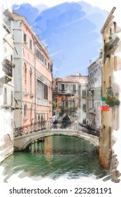 art watercolor background isolated on white basis with street,  channel and bridge in Venice, Italy
