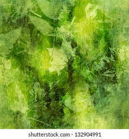 art watercolor and graphic autumn leaves monochrome background, card in green, yellow and black color