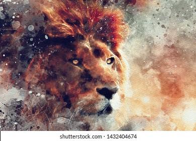Art watercolor head of wild lion.