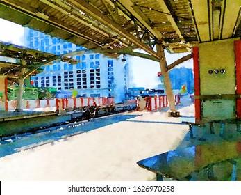Art watercolor of train station in Bangkok at Thailand