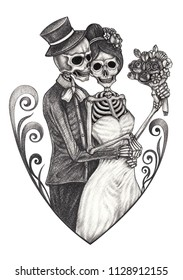 Art Wedding Couple Skulls Tattoo. Hand pencil drawing on paper.