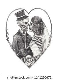 Art Wedding Couple Skulls.Hand pencil drawing on paper.