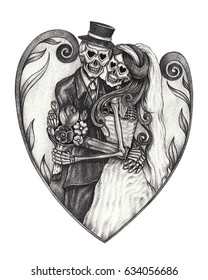 Art wedding skulls day of the dead. Hand pencil drawing on paper.