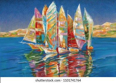 Art work. Autumn regatta. Decorative and textured techniques on canvas. Author: Nikolay Sivenkov.