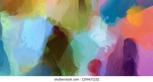 Art work in impressionism naive style oil painting on canvas. Abstract pattern with expressionism elements. Happy colors bright wall art print as poster template. Decor idea. Fashion modern background