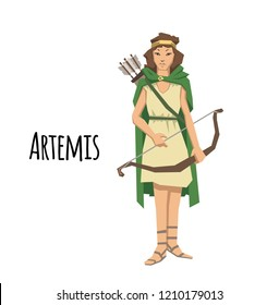 Artemis, ancient Greek goddess greek of the hunters. Ancient Greece mythology. Flat illustration. Isolated on white background. Raster version.