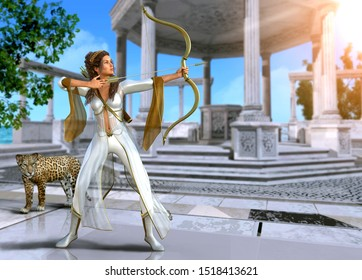 Artemis, enchanting Ancient Greek goddess of the hunt, in shooting pose with bow and arrow, 3d render painting