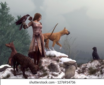 Artemis, Goddess of the hunt and archery, dressed in brown leather stands on a snowy mountain top with a hawk on one arm and her hunting dogs all around her. 3D Rendering