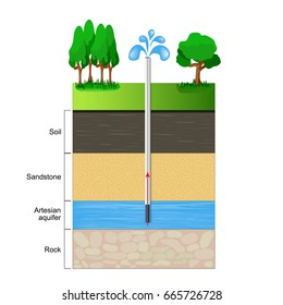 Artesian aquifer. a cut of soil layers with clay, stones and ground water. illustration flat design