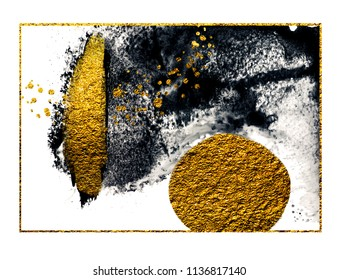 Art&Gold. Painting. Natural luxury. Black paint stroke texture on white paper. Abstract hand painted golden background for greeting, gift, wedding, invitation, birthday card. Magic abstract artwork.