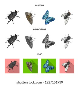 Arthropods insect beetle, moth, butterfly, fly. Insects set collection icons in cartoon,flat,monochrome style bitmap symbol stock isometric illustration web.