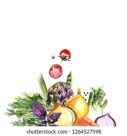Artichoke, fennel, radish, rosemary, red onion. The composition of vegetables and herbs of Italian cuisine. Vegetables painted in watercolor on a white background. Colorful food count.