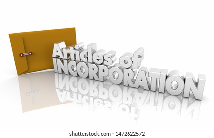 Articles of Incorporation Start New Business Documents 3d Illustration