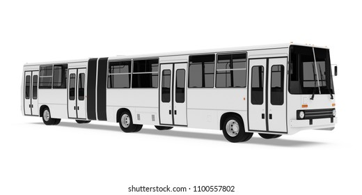 Articulated City Bus Isolated. 3D rendering