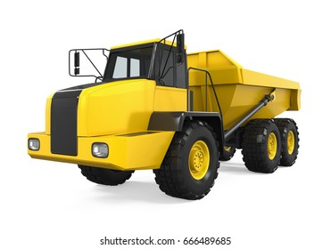 Articulated Dump Truck Isolated. 3D rendering