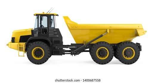 Articulated Dump Truck Isolated (side view). 3D rendering