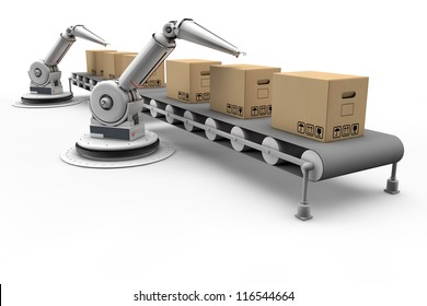 Articulated robots working on boxes on assembly line