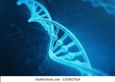 Artifical intelegence DNA molecule. Concept binary code genome. Abstract technology science, concept artifical Dna. 3D illustration