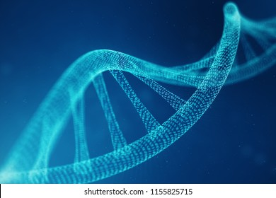 Artifical intelegence DNA molecule. DNA is converted into a binary code. Concept binary code genome. Abstract technology science, concept artifical Dna. 3D illustration